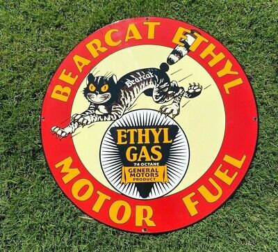 "VINTAGE BEARCAT ETHYL GENERAL MOTORS ""CAT"" 19"" PORCELAIN METAL GAS OIL PUMP SIGN"