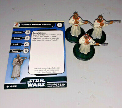 Star Wars Miniatures Bounty Hunters 3 x TUSKEN RAIDER SNIPER #48