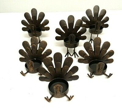 Set Of 6 Rustic Turkey Tea Light Candleholders Thanksgiving Fall Decor Metal