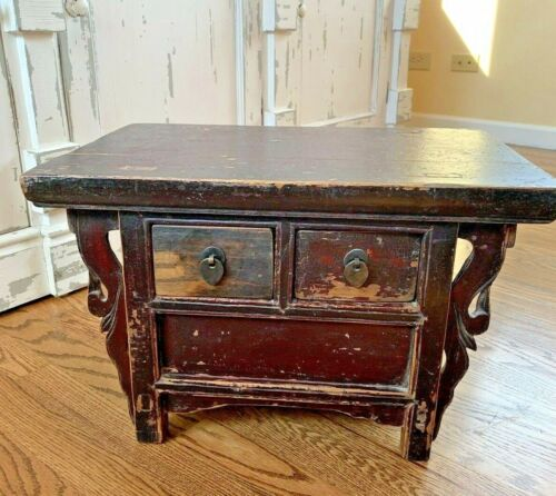 Antique Vintage Chinese Elm Wood Hand Carved Small Chest 2 Drawer Cabinet Box