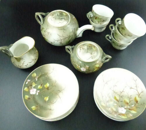 Beautiful Vintage Japanese 19 Piece Tea Set + Desert Plates ~ Cherry Blossums