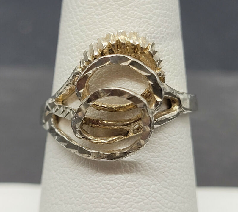 Vintage 925 Sterling Silver Abstract Swirls Ring Size 7.5