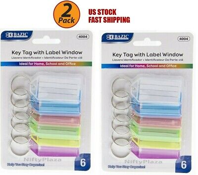 2 Pack - Key Tags With Holder Label Window Help You Stay Organize Brand New