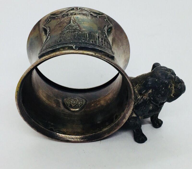 Antique Silver Plated US Capitol Washington DC English Bulldog Napkin Ring
