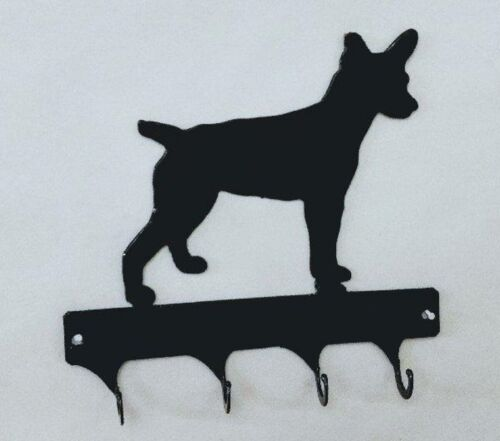 Rat Terrier 4 Hook Leash or Key Holder Black Wrought Iron Look Made in USA