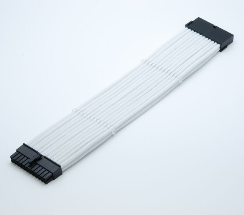 2 Cable Combs Shakmods 24pin ATX Motherboard 30cm Full White Sleeved Extension