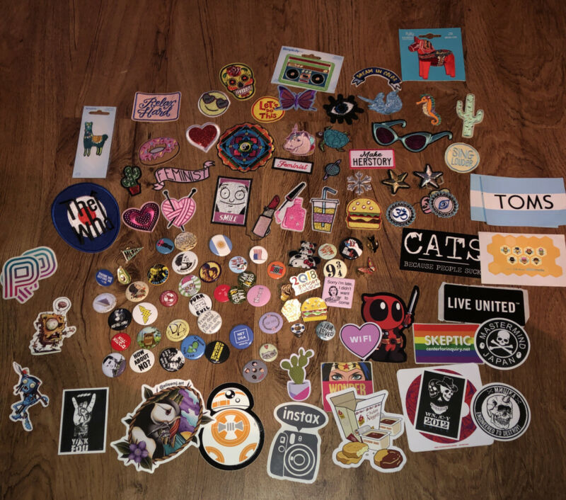 100 +  Lot Buttons Pins  Patches STICKERS