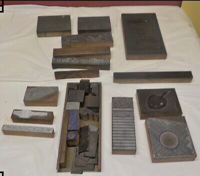 Lot Of Antique Vintage Letterpress Metal On Wood Printing Blocks