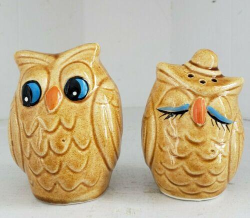 Owl Salt & Pepper Shaker Set Brown Ceramic Painted Whimsical Vintage MCM Decor