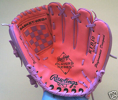 Rawlings Pink Player Series Rtb10 10  Right Baseball Basket Web Glove Excellent