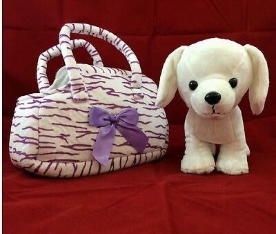 Plush Toy Puppy Dog Zebra Animal Print Carrier Purse Purple Stripes 4 Christmas