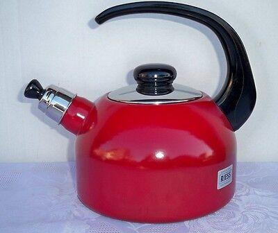 Flötenkessel Wasserkocher Teekessel Floetenkessel Riess Email Kocher Topf 2l rot (Tee-topf Für Induktion Herd)