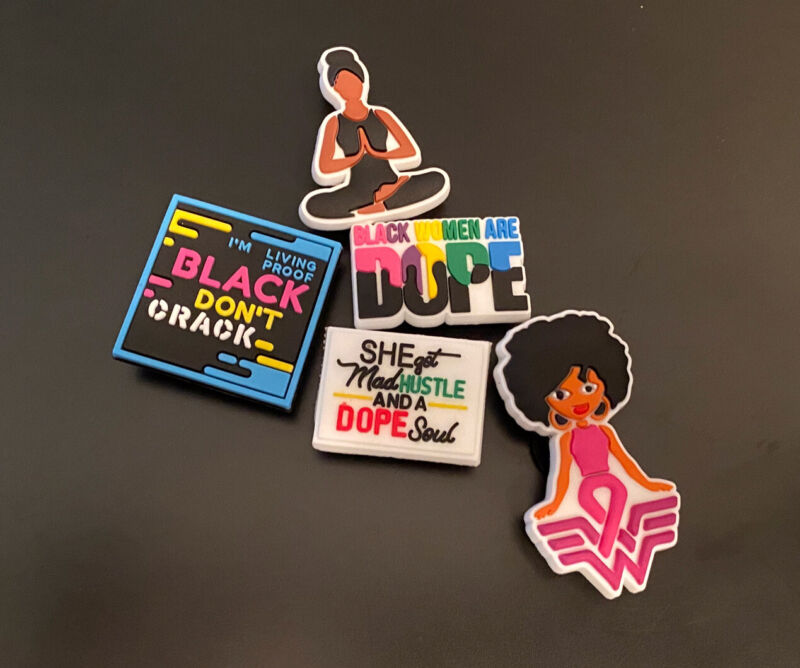 ~NEW~Lot Of 5 Charms-Black Woman Are Dope-black Wonder Woman-For Clogs Crocs