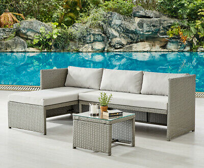 Rattan Garden Furniture Sofa Set Grey or Black Patio Outdoor Corner Lounge Set