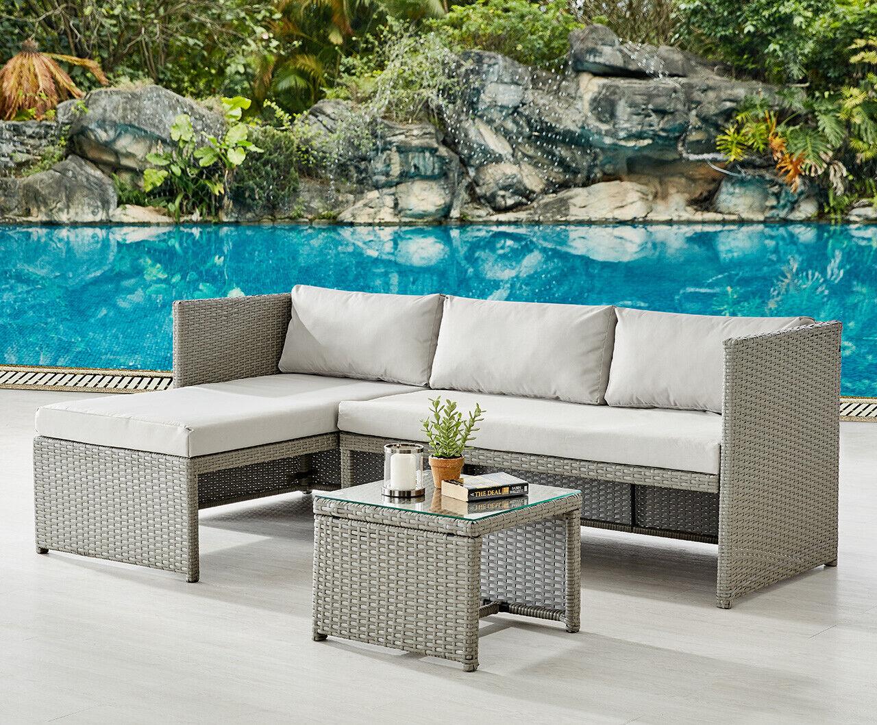 Garden Furniture - Rattan Garden Furniture Sofa Set Grey or Black Patio Outdoor Corner Lounge Set