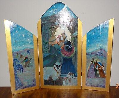 Nativity Wood  Panels Hand Painted Three Hinged Handmade Christmas Baby Jesus