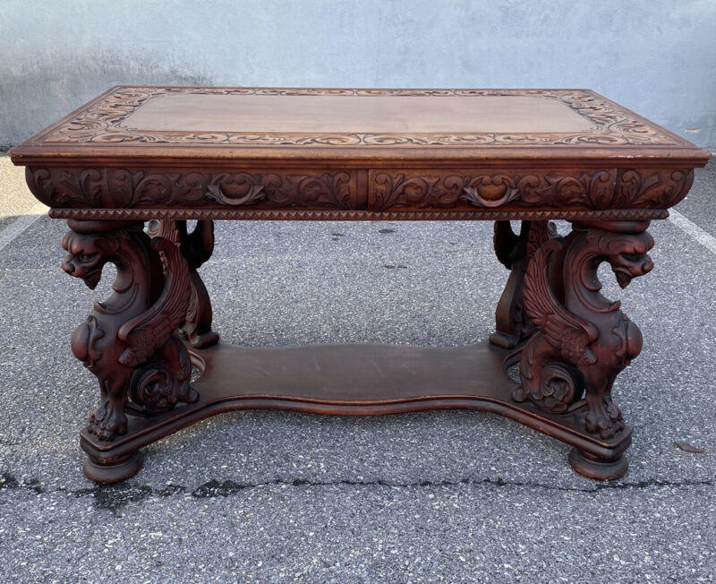 R J Horner Mahogany Winged Griffin Library Table. Circa 1890s