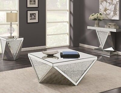 Contemporary Occasional Set Mirrored Coffee Cocktail Console End Sofa (Contemporary Cocktail Table)