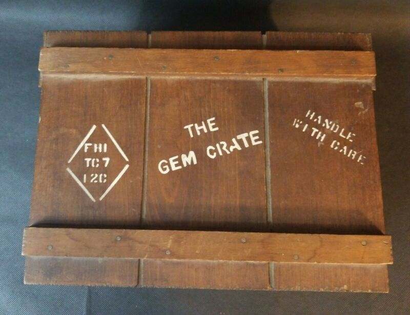 Antique Wood Wooden Box Crate Originals  Warehouse #2 Made In USA Great Shape