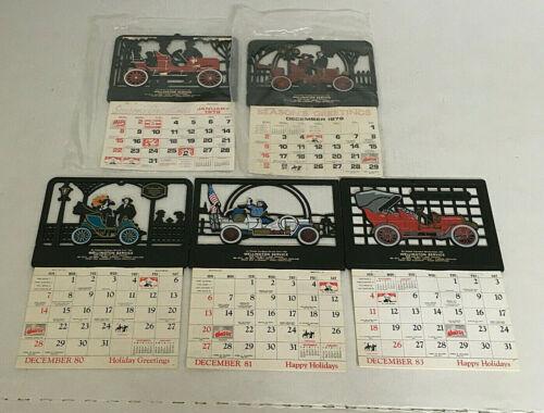 vintage car service place calendar lot plastic cut out tops old cars silhouette