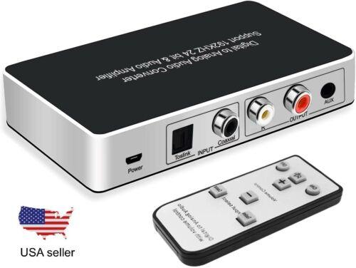TV Digital Optical Coax to Analog Stereo Audio Converter DAC w IR Remote Control