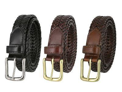 Woven Genuine Braided Leather Belt 1-1/4