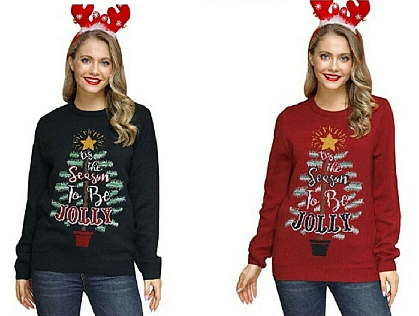 Women's Ugly Christmas Sweater tis the season to be Jolly Cable Knit Sweater Clothing, Shoes & Accessories