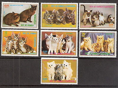 EQUATORIAL GUINEA 1978 CATS - KITTENS COMPLETE SET OF 7 MNH