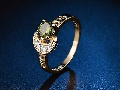 Green Peridot Crystal 18k Gold Platinum Crescent Rings Classic Women Jewelry