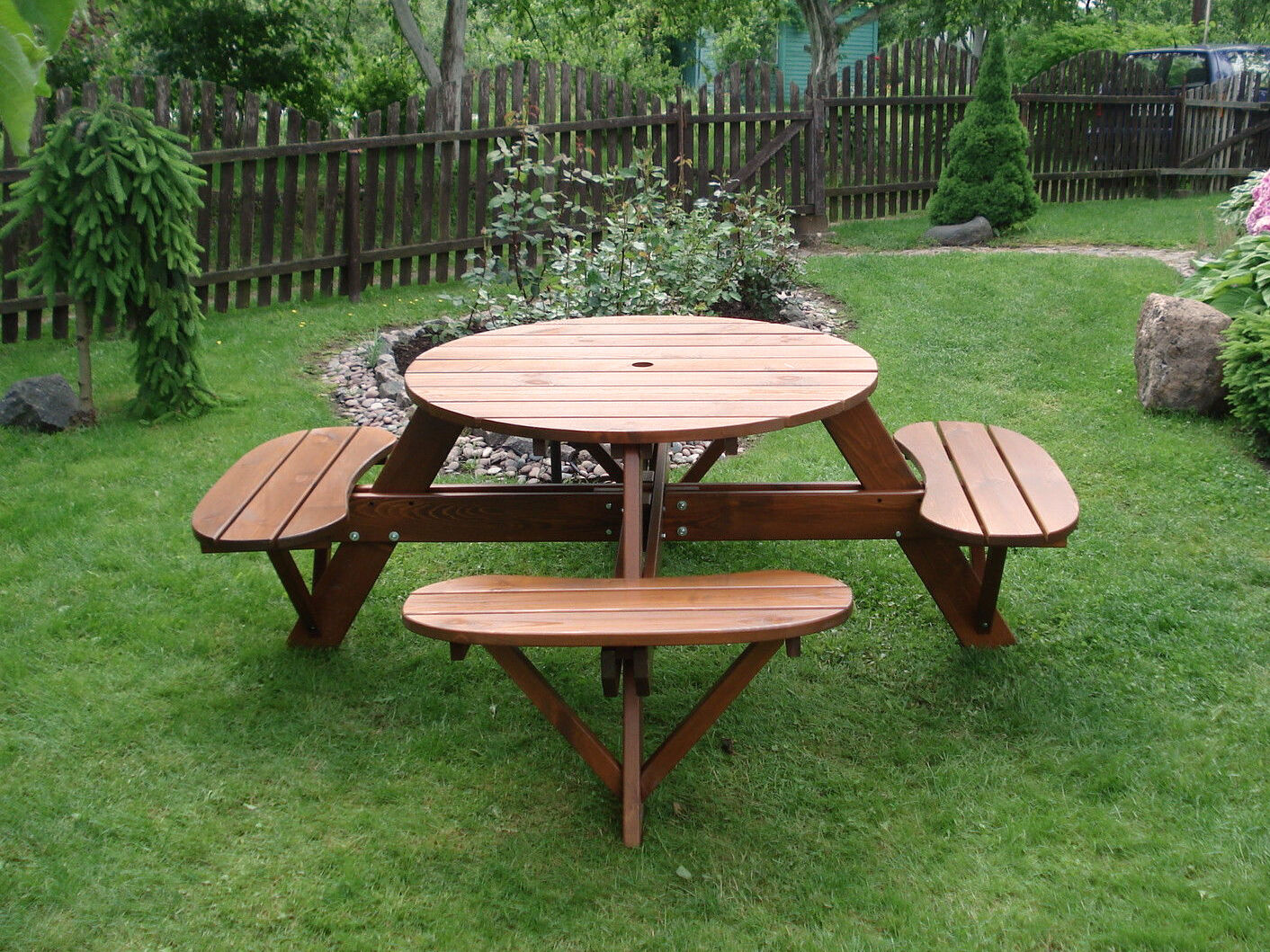 how to build a round picnic table with seats ebay. Black Bedroom Furniture Sets. Home Design Ideas