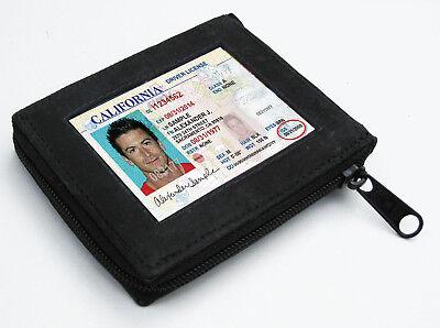 BLACK ZIPPER LEATHER MEN BIFOLD MEN'S  WALLET 10+ CARD Flap Top Zip Around Safe