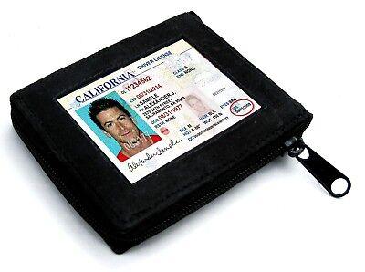 BLACK ZIPPER LEATHER MEN BIFOLD MEN'S  WALLET 8 CARD Flap Zip Around Safe Black Leather Zipper