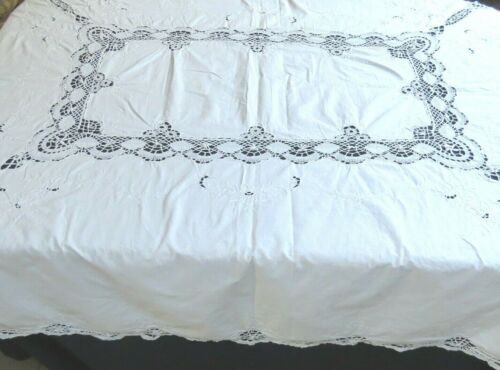 Vintage Bobbin Cluny Lace Tablecloth 62 x 80 Rectangle White Cotton Rose