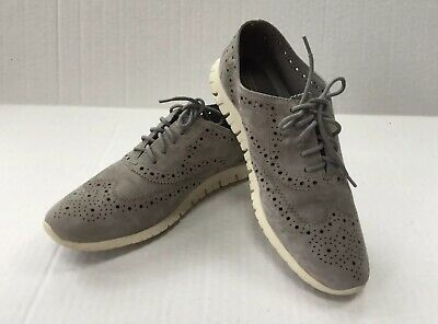 Cole Haan Womens ZeroGrand Wingtip Oxford Suede Shoes Sz 8.5  Gray Suede Womens Oxford