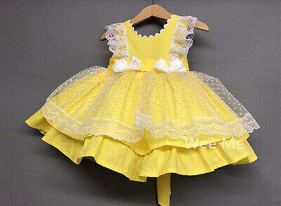Beautiful Wee Me Baby Girl Lemon Spanish Puff Ball Lace Dress with Bows Romany