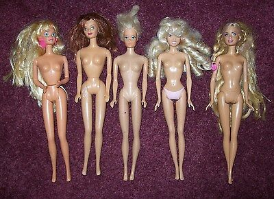 Five NUDE BARBIE and FRIENDS DOLL LOT for OOAK or PLAY