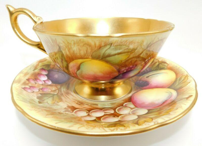 AYNSLEY England ORCHARD FRUIT GOLD TEACUP & SAUCER N. Brunt & D. Jones