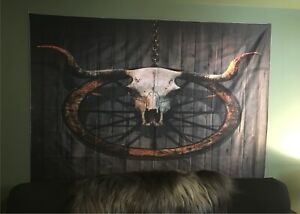 "Very large longhorn skull /Wagon wheel tapestry - 80""w x 60""l"