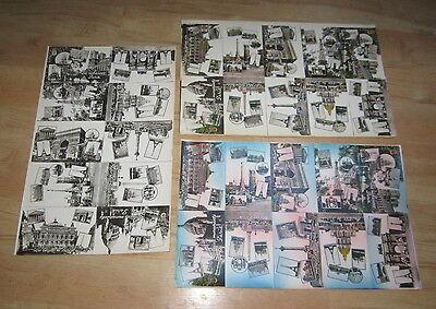 Lot of 30 Old Vintage c.1930's - PARIS FRANCE POSTCARDS - 3 Uncut Sheets of 10