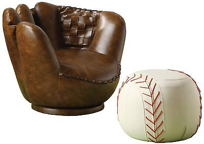 Baseball Glove Chair Ottoman Kids Home Bedroom Furniture Comfortable Sturdy Seat