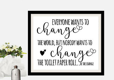 Funny Bathroom Picture Print Quote   Black And White 8X10