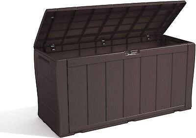 Keter XL Large Storage Shed Garden Outside Box Bin Tool Store Lockable Brown UK