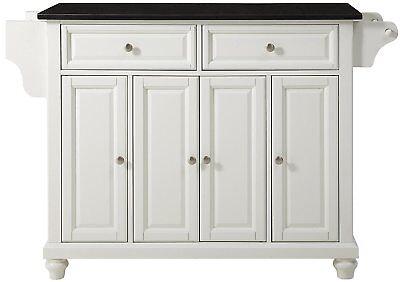 Crosley Furniture Cambridge Kitchen Island with Solid Black Granite Top in White