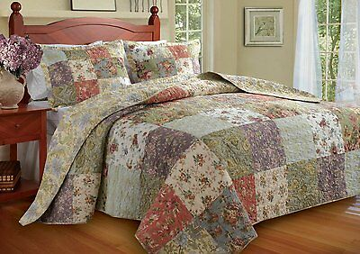 beautiful oversize antique country green blue patchwork