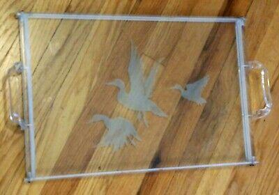 Vtg Vanity Dresser Tray Ornate Retro Plastic Handles Frosted Glass Flying Ducks