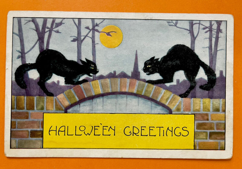 Vintage Whitney Halloween Postcard Two Black Cats On Bridge Unsent Excellent
