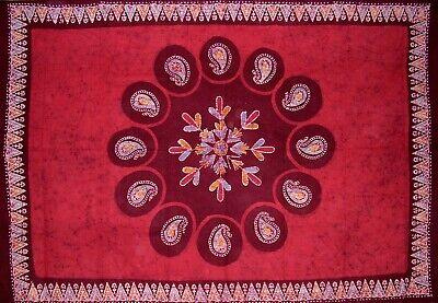 "Batik Cotton Tablecloth 90"" x 60"" Red"