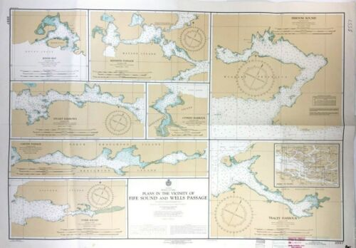 Vintage SIMOOM SOUND QUEEN CHARLOTTE STRAIT Nautical Chart BRITISH COLUMBIA Map