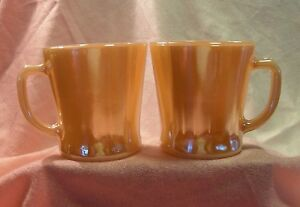 2 Fire king 'Peach Lustre' Coffee cups MINT CONDITION