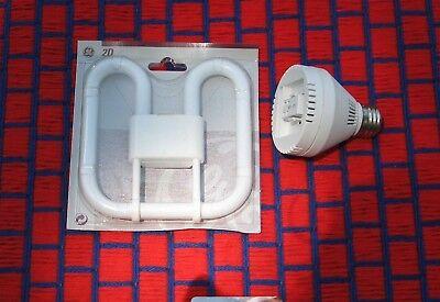 GE Compact FLUORESCENT grow light bulb 2D CFL 21w FREE T5 adapter 2700K blooming Compact Fluorescent Grow Light Bulbs